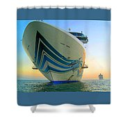 Passing Cruise Ships At Sunset Shower Curtain