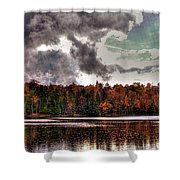 Passing Storm Over Cary Lake Shower Curtain by David Patterson