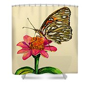 Passion Butterfly On Zinnia Shower Curtain