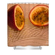 Passion Fruit On Fish Plate 11-3-13 Shower Curtain