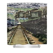 Past Century Trains Shower Curtain