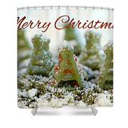 Pasta Christmas Trees With Text Shower Curtain