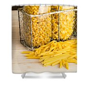 Pasta Shapes Still Life Shower Curtain by Edward Fielding