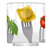 Pasta Tomato And Basil Shower Curtain