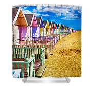 Pastel Beach Huts 2 Shower Curtain