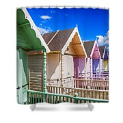 Pastel Beach Huts 3 Shower Curtain