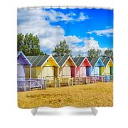 Pastel Beach Huts Shower Curtain by Chris Thaxter