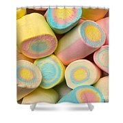 Pastel Colored Marshmallows Shower Curtain