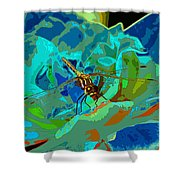 Pastel Dragonfly Rose Shower Curtain