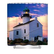 Pastel Drawing Old Point Loma Lighthouse Cabrillo National Monument California Shower Curtain