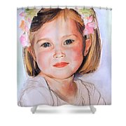 Pastel Portrait Of Girl With Flowers In Her Hair Shower Curtain