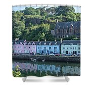 Pastel Rowhome In The Bay Highlands Scotland Shower Curtain