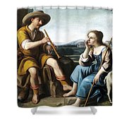 Pastoral Scene With A Shepherd Family Against A Countryside Background Shower Curtain
