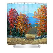 Pasture Gate In Autumn Shower Curtain
