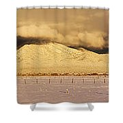 Pasture Land Covered In Snow At Sunset Shower Curtain