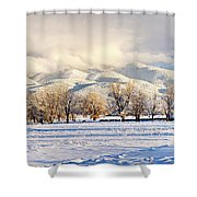 Pasture Land Covered In Snow With Taos Shower Curtain
