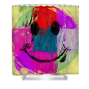 Patchwork Smiley Face Shower Curtain