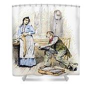 Patent Medicine Salesman Shower Curtain