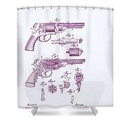 Patented Revolver In Purple Shower Curtain