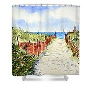 Path To East Beach-watch Hill Ri Shower Curtain