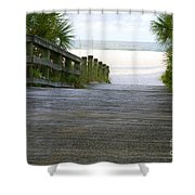 Path To The Empty Beach Shower Curtain
