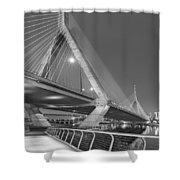 Path To The Leonard P. Zakim Bridge Bw Shower Curtain