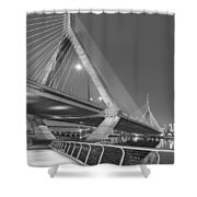 Path To The Leonard P. Zakim Bridge Bw Shower Curtain