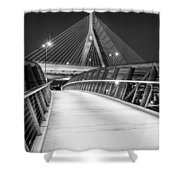 Path To The Zakim Bridge Bw Shower Curtain