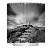 Path To Twr Mawr Lighthouse Shower Curtain