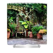 Patio Garden In The Rain Shower Curtain by Susan Savad