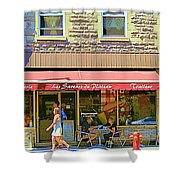 Patisserie Les Saveurs Du Plateau Pique Nique Et Emporter Montreal Cafe Scene Art By Carole Spandau  Shower Curtain