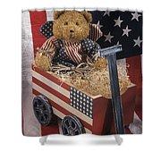 Patriot Bear Shower Curtain by Sharon Elliott