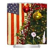 Patriotic Christmas Shower Curtain