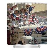 Patriotic Cowgirls Firetruck July 4th Parade Prescott Arizona 2002 Shower Curtain