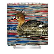 Patriotic Merganser Shower Curtain