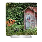 Patriotic Outhouse Shower Curtain