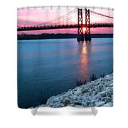 Patriotic Sunset Thru Bridge Shower Curtain