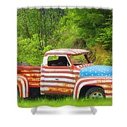 Patriotic Truck Shower Curtain