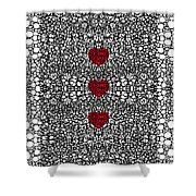 Pattern 34 - Heart Art - Black And White Exquisite Patterns By Sharon Cummings Shower Curtain by Sharon Cummings