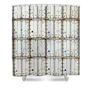 Pattern Of Shipping Container Stack At Depot Shower Curtain