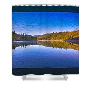 Patterson Lake Fall Morning Abstract Landscape Painting Shower Curtain