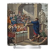 Paul Before Felix, Illustration Shower Curtain