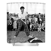 Paul Hahn Golf Stunt Shot Shower Curtain