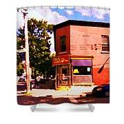 Paul Patate Pointe St Charles South West Montreal Autumn Street Scene Carole Spandau Shower Curtain