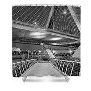 Paul Revere Park And The Zakim Bridge Bw Shower Curtain