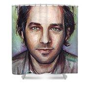 Paul Rudd Portrait Shower Curtain by Olga Shvartsur
