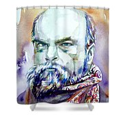 Paul Verlaine - Watercolor Portrait.1 Shower Curtain