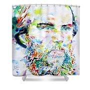 Paul Verlaine - Watercolor Portrait.2 Shower Curtain