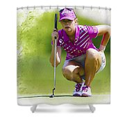 Paula Creamer Lines Up Her Putt Shower Curtain