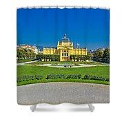 Pavillion In Green Park Of Zagreb Shower Curtain